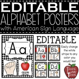 Editable Alphabet Posters with American Sign Language {Hou
