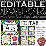 Editable Alphabet Posters with American Sign Language {Neon}