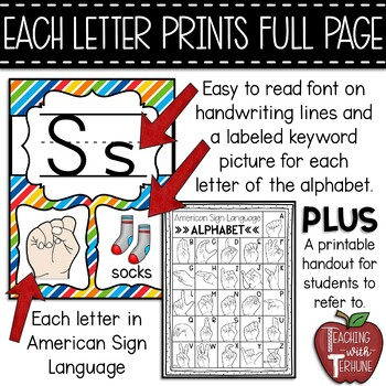 graphic relating to Sign Language Colors Printable identified as Editable Alphabet Posters with American Signal Language Simple Hues