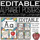 Editable Alphabet Posters with American Sign Language {Pri