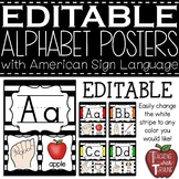 Editable Alphabet Posters with American Sign Language {Striped}