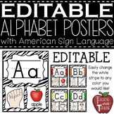 Editable Alphabet Posters with American Sign Language {Zebra}