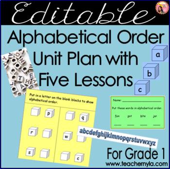 Editable Alphabetical Order Unit Plan