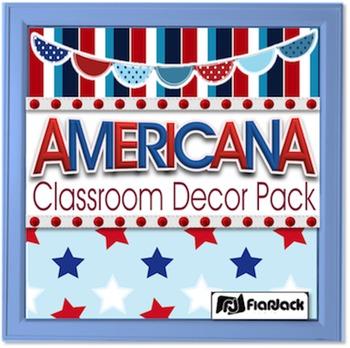 Editable Americana Classroom Decor Materials Pack