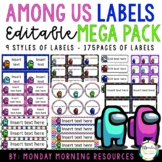 Editable Among Us Themed Labels MEGA Pack