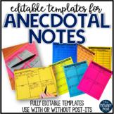 EDITABLE Anecdotal Note Templates