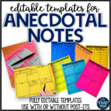 EDITABLE Anecdotal Note Templates