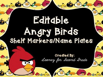 Editable Angry Birds Themed Desk Plates/Shelf Markers