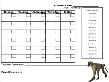 Editable Animal Behavior Chart and Editable Behavior Calendars