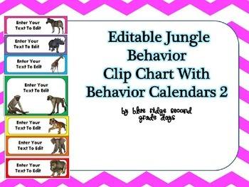 Editable Animal Behavior Chart and Editable Behavior Calendars Version 2
