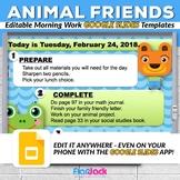Editable Animal Friends GOOGLE SLIDES Templates