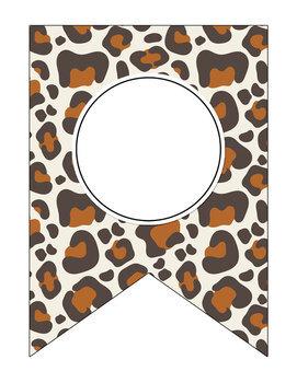 Editable Animal Print Banners Pennants Classroom Decor: Zebra, Cheetah, Giraffe