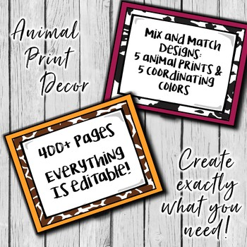 Editable Animal Print Decor - Back to school decor ready!