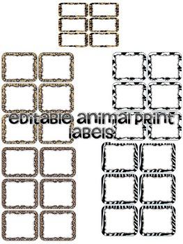 Editable Animal Print Labels