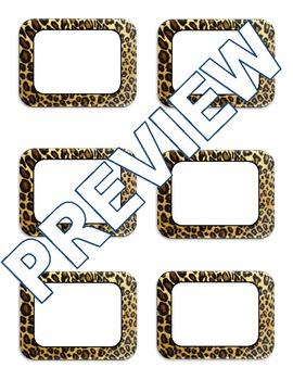 Editable Animal Print Labels (Giraffe, Leopard, Zebra)