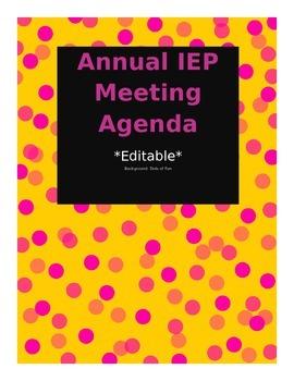 Editable Annual IEP Agenda