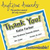 NSD6006 Editable Anytime Award Thank You! Certificates
