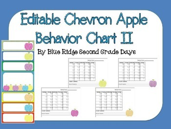 Editable Apple Behavior Chart and Behavior Calendars