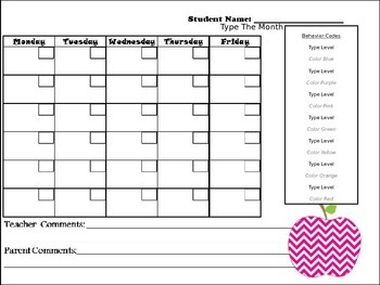 Editable Apple Behavior Chart and Behavior Calendars II