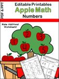 Editable Worksheets For Kindergarten Math (Apple Theme)