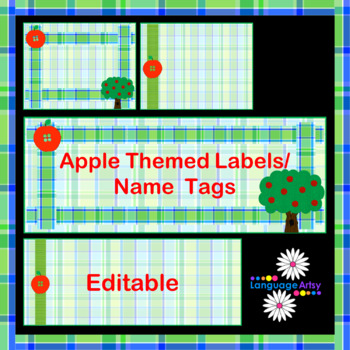 Desk Tags, Name Tags, Labels: Apple Theme, Editable