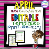 Editable Homework and Newsletter Template April