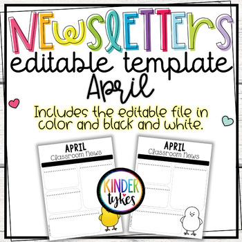 Editable April Classroom Newsletter
