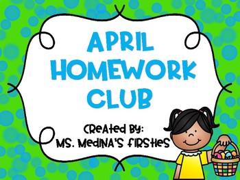 April Homework Club Editable