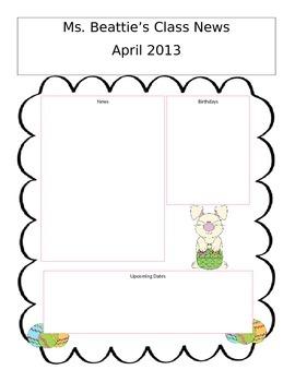 Editable April Newsletter