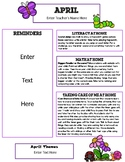 April Newsletter Template with Home Connections for Preschool