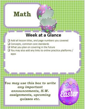 Editable April Spring Easter Themed Classroom Weekly or Monthly Newsletter