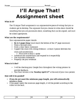 Editable Argument Assignment with Rubric