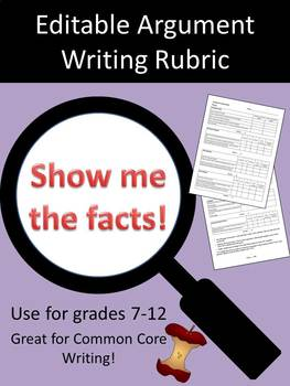Argument Writing Rubric - Fully Editable!