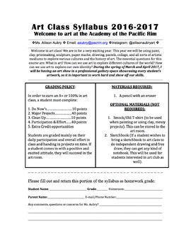 Editable Art Room Syllabus