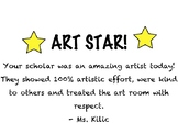 Editable Art Work Reward Cards