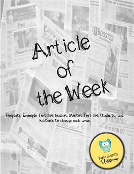 Editable Article of the Week Template and Response & Questions