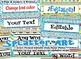 Editable Artist Paint themed Desk Nameplates with manuscript & cursive alphabet