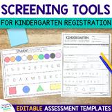 Editable Assessment Screening Tools for Kindergarten Readiness Skills