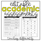 Editable Academic Assessments and Data Sheets