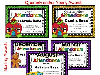 Editable Attendance Awards : Yearly, Quarterly, & Monthly