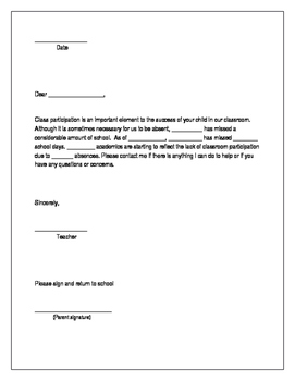 Editable Attendance Letter for parents