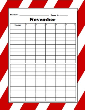 Editable Weekly Attendance Sheets (12 months included)