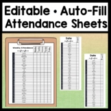 Editable Attendance Sheets {Auto-Fill 30 Names!} {Student