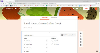 Editable Attendance and Lunch Count GOOGLE FORM link