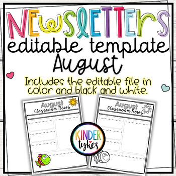 Editable August Classroom Newsletter