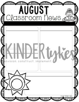 Editable August Classroom Newsletter
