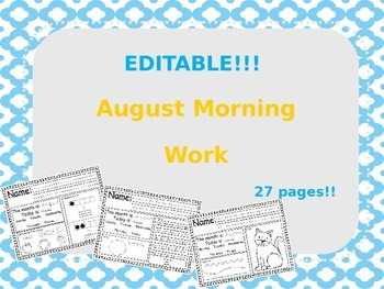 Editable August Morning Work....Sample