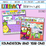 Editable Australian Curriculum Aligned Year One and Pre-Primary English Warm-ups