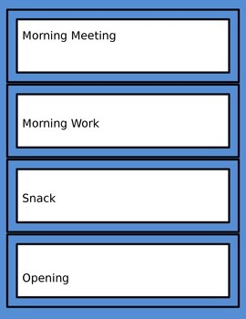 Editable (Autism Support) Schedule Cards for Centers & Class Activities (Blue)