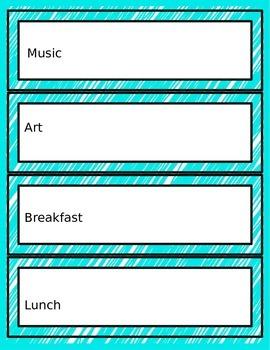 Editable (Autism Support) Schedule Cards for Centers & Classroom Activities-Aqua